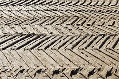 Tyre tracks after heavy vehicles in the mud. Royalty Free Stock Photo