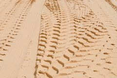 Tyre tracks on the sand Royalty Free Stock Image