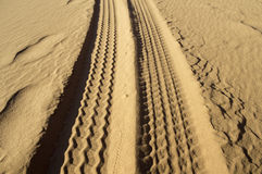 Tyre tracks on the sand Stock Images