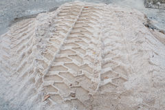 Tyre tracks in sand of a road works Royalty Free Stock Image