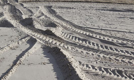 Tyre tracks in the sand Royalty Free Stock Photos