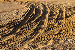 Tyre tracks in the sand Royalty Free Stock Photography