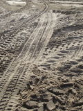 Tyre Tracks in Sea Sand Stock Photography