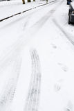 Tyre tracks in snow royalty free stock image