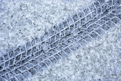 Tyre tracks in snow Royalty Free Stock Photo