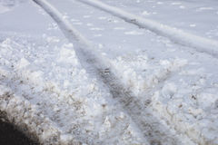 Tyre tracks in snow Royalty Free Stock Images