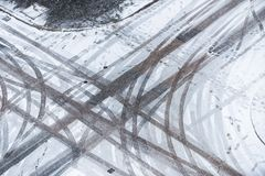 Tyre tracks in the sow Royalty Free Stock Photos