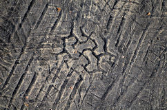 Tyre tread imprint in asphalt Stock Photos