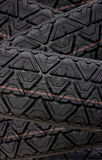 Tyre tread tracks close up Royalty Free Stock Images