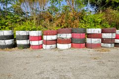 Tyre Wall of the Targa Florio Track, Cerda, Sicily Royalty Free Stock Photo