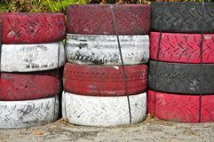 Tyre Wall of the Targa Florio Track, Cerda, Sicily Stock Photo