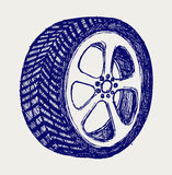 Tyre wheels. Doodle style Royalty Free Stock Photography