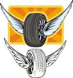 Tyre with wings Royalty Free Stock Image