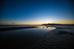 Tyrella beach. At sunset in County Down, Northern Ireland royalty free stock photography