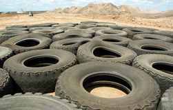 Tyres 01. Pile of tyres on coal mine, QLD, Australia Stock Image
