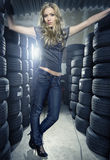 Between tyres Royalty Free Stock Images