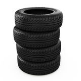 Tyres. Stack of new tyres isolated on white - 3d render Royalty Free Stock Images
