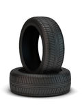Tyres. High resolution 3d render of new tyres isolated on white Stock Photo