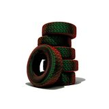 Tyres. Tyre tower over the white background (3D Royalty Free Stock Image