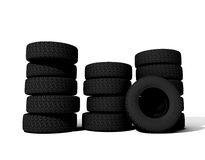 Tyres. Over the white background 3D (all names are Invented Royalty Free Stock Photo