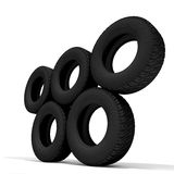 Tyres. Over the white background 3D (all names are Invented Stock Photo