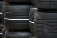 Tyres. F1 racing car slick tyres Royalty Free Stock Images