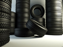 Tyres group. Brand new tyres, 3d rendering of car wheel vector illustration