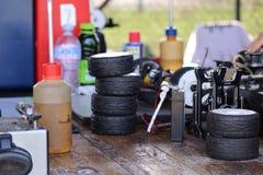 Tyres. Job CAR small race racing Stock Image