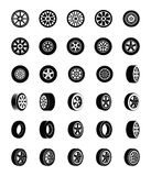 Tyres Glyph Vector Icons Set royalty free illustration