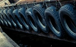 Tyres in a row Royalty Free Stock Image