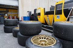 Tyres and spare parts in the garage. LE CASTELLET, FRANCE, April 7, 2018 : Racing cars and teams during the training sessions for World Endurance Car Royalty Free Stock Image