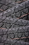 Tyres stacked with focus depth Stock Photos