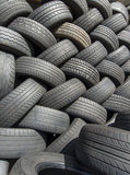 Tyres stacked in a pattern #2 Royalty Free Stock Photography