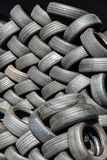Tyres stacked in a pattern Royalty Free Stock Photo