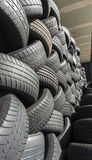Tyres stacked in a pattern detail Royalty Free Stock Photography