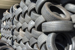 Tyres stacked for recycling Royalty Free Stock Photography