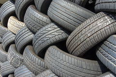 Tyres stacked for recycling Royalty Free Stock Images