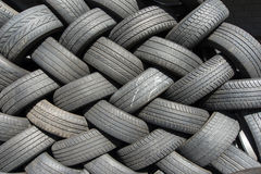 Tyres stacked for reuse Stock Photos