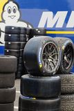 Tyres and tyres and tyres for the race. LE CASTELLET, FRANCE, April 7, 2018 : Racing cars and teams during the training sessions for World Endurance Car Stock Images