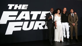 Tyrese Gibson Nathalie Emmanuel, Vin Diesel, broar för Christopher `-Ludacris ` Royaltyfria Foton