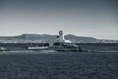 Tyrhaug, nabrzeżna latarnia morska, Norwegia Obraz Royalty Free