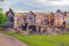 Ruins of the old Ural plant. stock image
