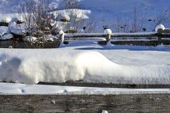 Tyrol Alps zimy krajobraz: śnieżysty drewniany poręcz, halna mała rzeka na tle obraz stock