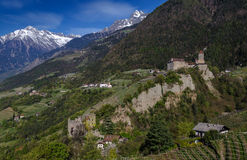 Tyrol castle and Brunnenburg castle. Near Meran, South Tyrol Stock Image