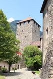 Tyrol Castle interior courtyard and tower in Tirol, South Tyrol. Italy Royalty Free Stock Photo