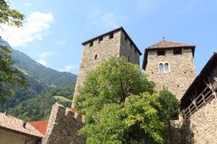 Tyrol Castle interior courtyard and tower in Tirol, South Tyrol. Italy Stock Photos