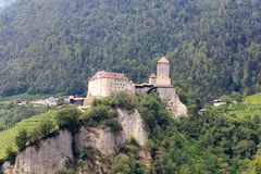 Tyrol Castle and mountain panorama in Tirol, South Tyrol. Italy Stock Photo