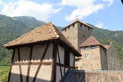 Tyrol Castle and mountain panorama in Tirol, South Tyrol. Italy Royalty Free Stock Image