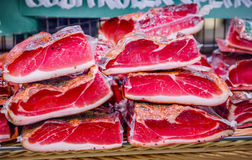 Tyrolean bacon. Close up of tyrolean bacon Stock Photo