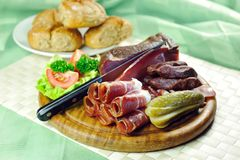 Tyrolean bacon plate Royalty Free Stock Photo